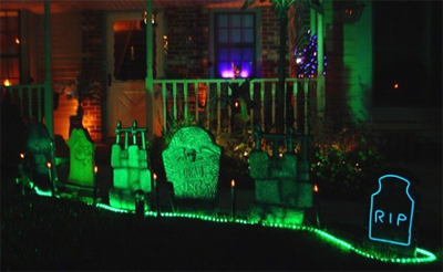 Spooky Halloween light installations