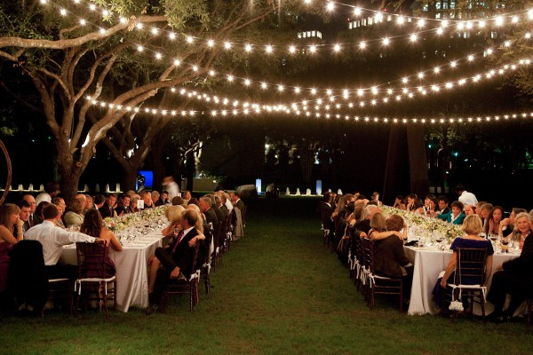 Outdoor lighting installations for wedding receptions